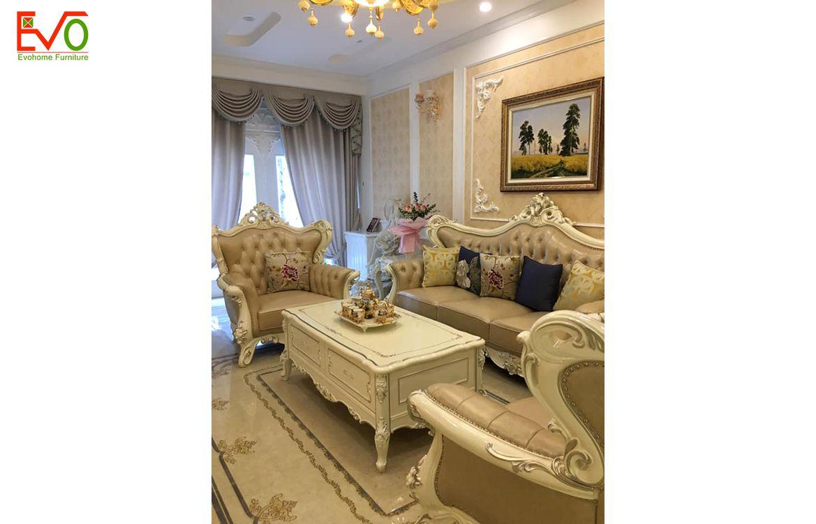 Thi công nội thất phòng khách nhà phố 156 Lacasta văn phú phong cách cổ điển 2