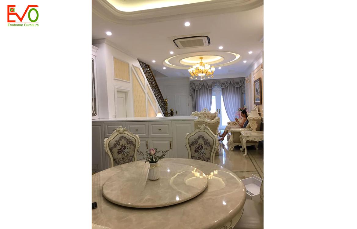 Thi công nội thất phòng khách nhà phố 156 Lacasta văn phú phong cách cổ điển
