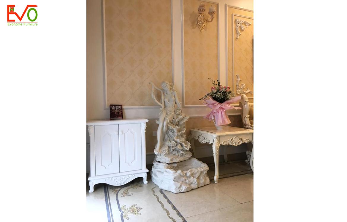 Thi công nội thất phòng khách nhà phố 156 Lacasta văn phú phong cách cổ điển 3