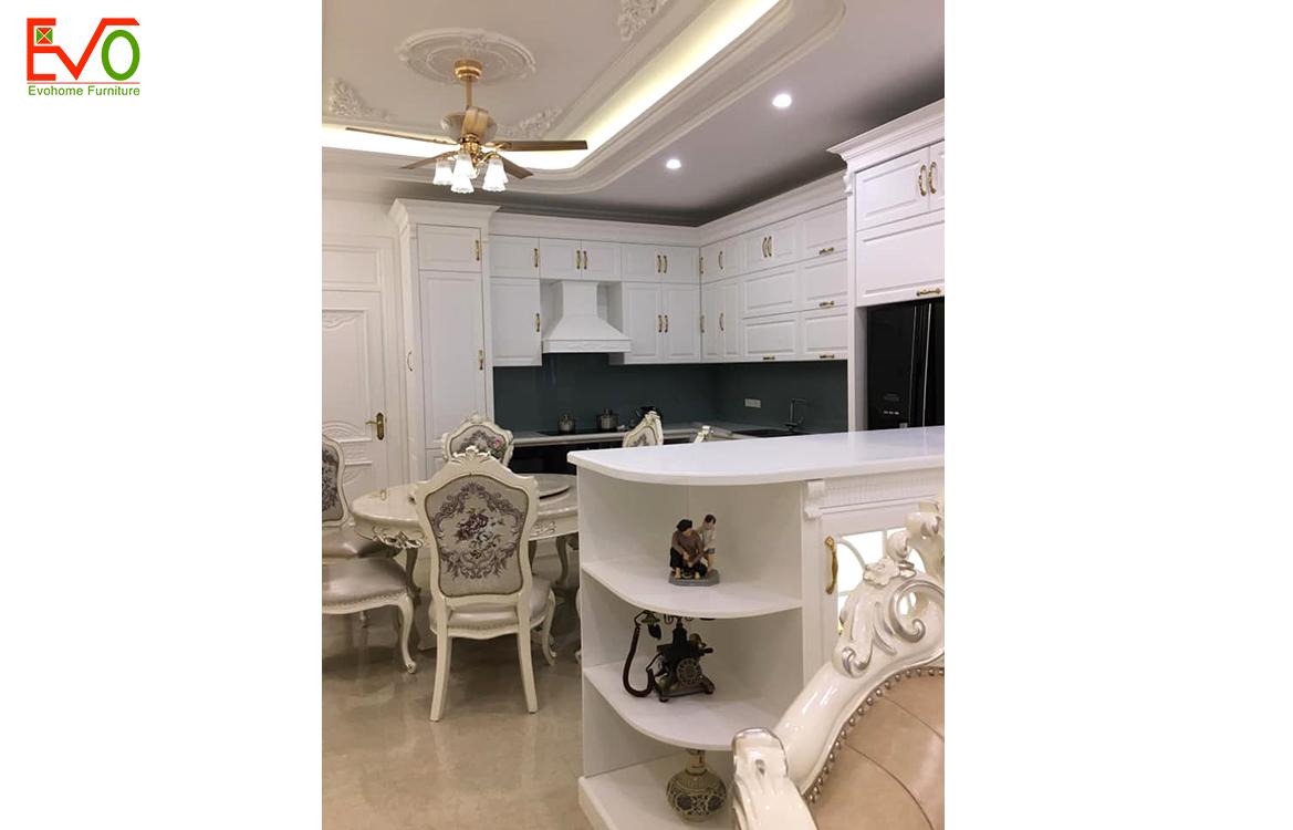 Thi công nội thất phòng bếp nhà phố 156 Lacasta văn phú phong cách cổ điển