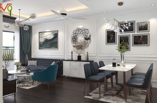 Thiết kế nội thất căn hộ homland tân cổ điển nhẹ nhàng 01