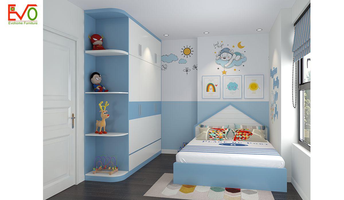 Thiết kế nội thất phòng ngủ con trai gỗ công nghiệp 1