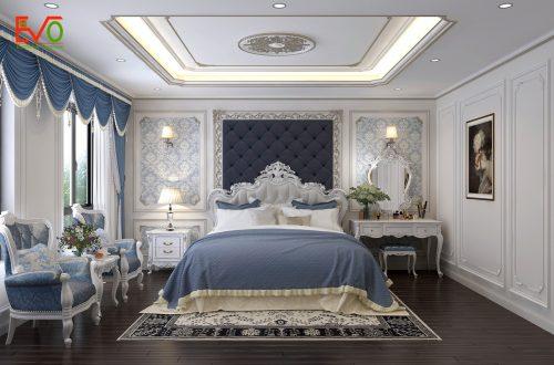 thiết kế nội thất phòng ngủ nhà phố 156 lacasta Văn Phú phong cách cổ điển 01
