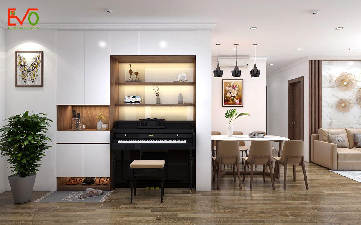 thiết kế tủ giầy kết hợp tủ trang trí âm tường
