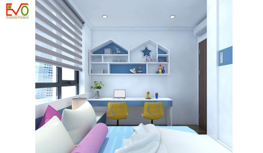 Giải pháp thiết kế nội thất phòng ngủ cho 2 bé diện tích nhỏ - Tiện nghi, thông thoáng3