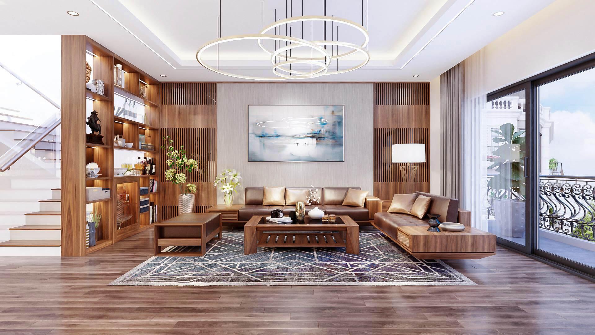 Mẫu thiết kế nội thất phòng khách biệt thự sang trọng, hiện đại